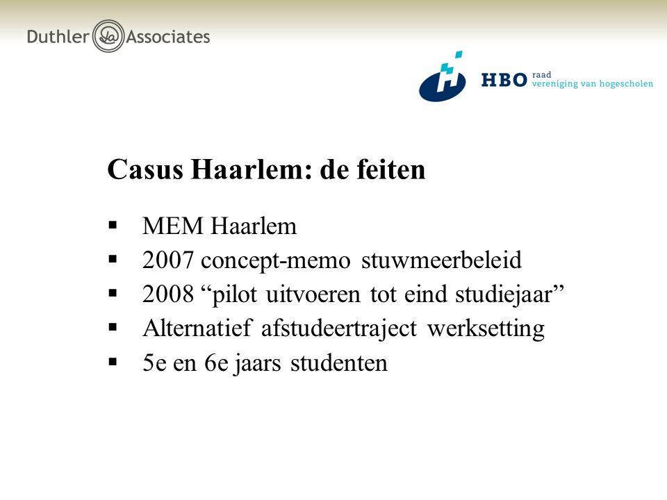 Casus Haarlem: de feiten  MEM Haarlem  2007 concept-memo stuwmeerbeleid  2008 pilot uitvoeren tot eind studiejaar  Alternatief afstudeertraject werksetting  5e en 6e jaars studenten