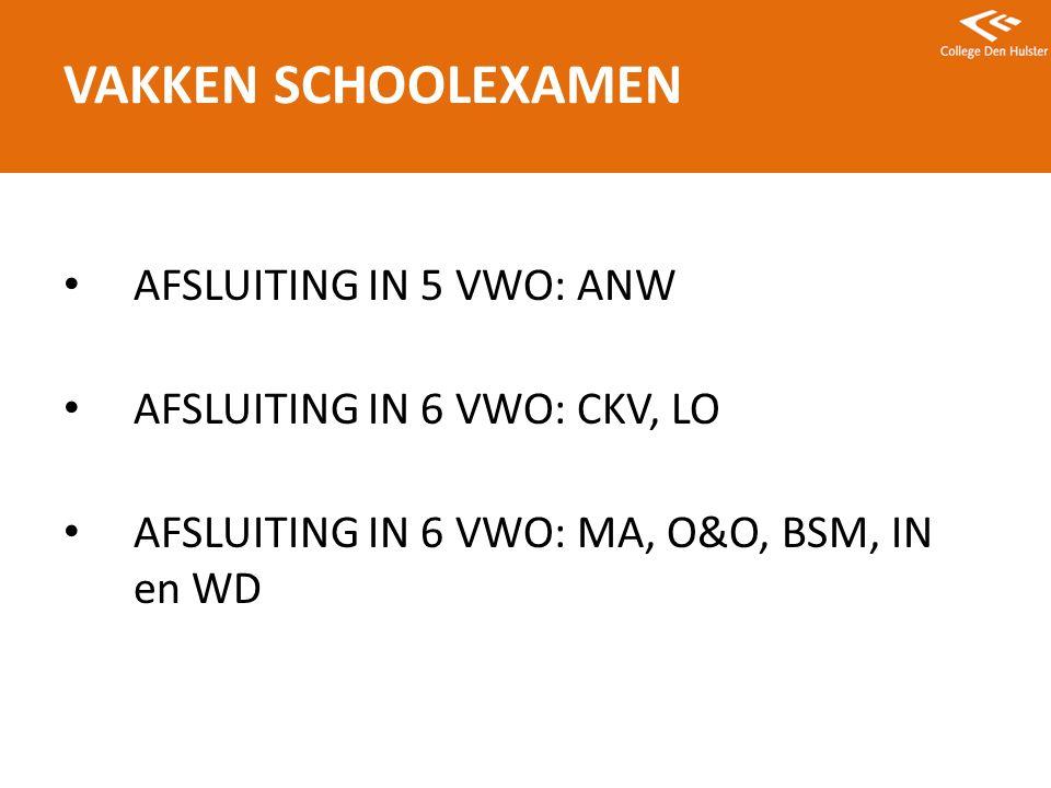 AFSLUITING IN 5 VWO: ANW AFSLUITING IN 6 VWO: CKV, LO AFSLUITING IN 6 VWO: MA, O&O, BSM, IN en WD VAKKEN SCHOOLEXAMEN