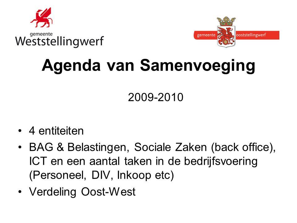 Agenda van Samenvoeging 2009-2010 4 entiteiten BAG & Belastingen, Sociale Zaken (back office), ICT en een aantal taken in de bedrijfsvoering (Personeel, DIV, Inkoop etc) Verdeling Oost-West