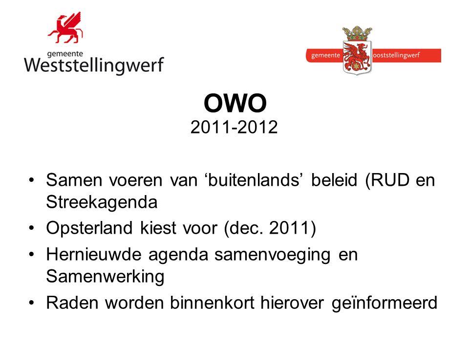 OWO 2011-2012 Samen voeren van 'buitenlands' beleid (RUD en Streekagenda Opsterland kiest voor (dec.