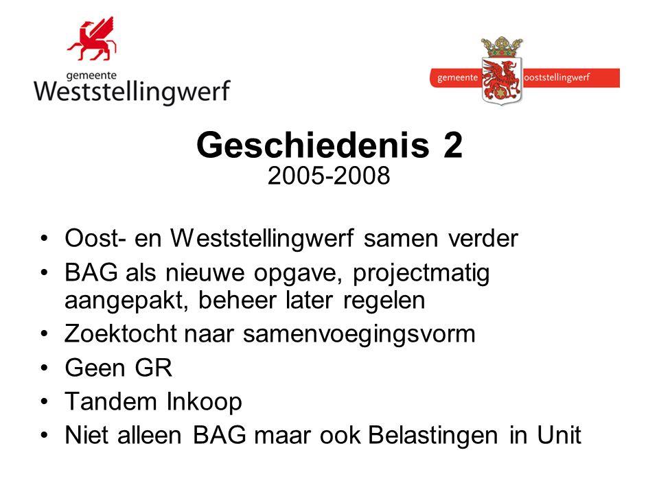 Geschiedenis 2 2005-2008 Oost- en Weststellingwerf samen verder BAG als nieuwe opgave, projectmatig aangepakt, beheer later regelen Zoektocht naar samenvoegingsvorm Geen GR Tandem Inkoop Niet alleen BAG maar ook Belastingen in Unit