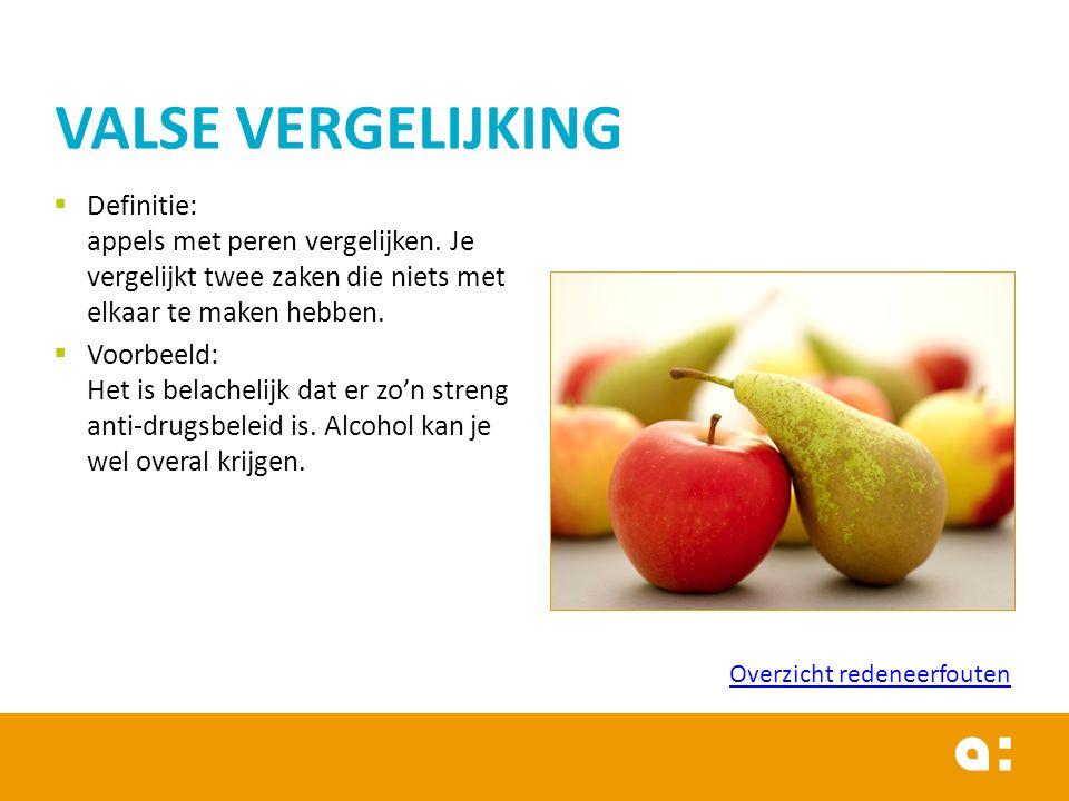  Definitie: appels met peren vergelijken. Je vergelijkt twee zaken die niets met elkaar te maken hebben.  Voorbeeld: Het is belachelijk dat er zo'n