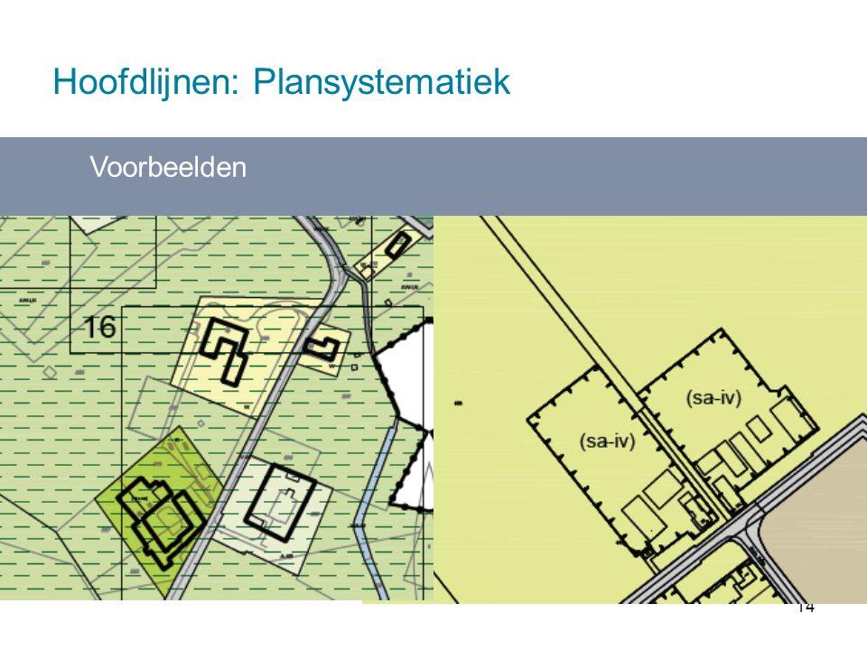 14 Hoofdlijnen: Plansystematiek Voorbeelden Functies maken juridisch deel uit van overkoepelende gebiedsbestemming - komt overeen met gebiedsgericht werken - digitaal in één oogopslag zichtbaar wat wel/niet kan.