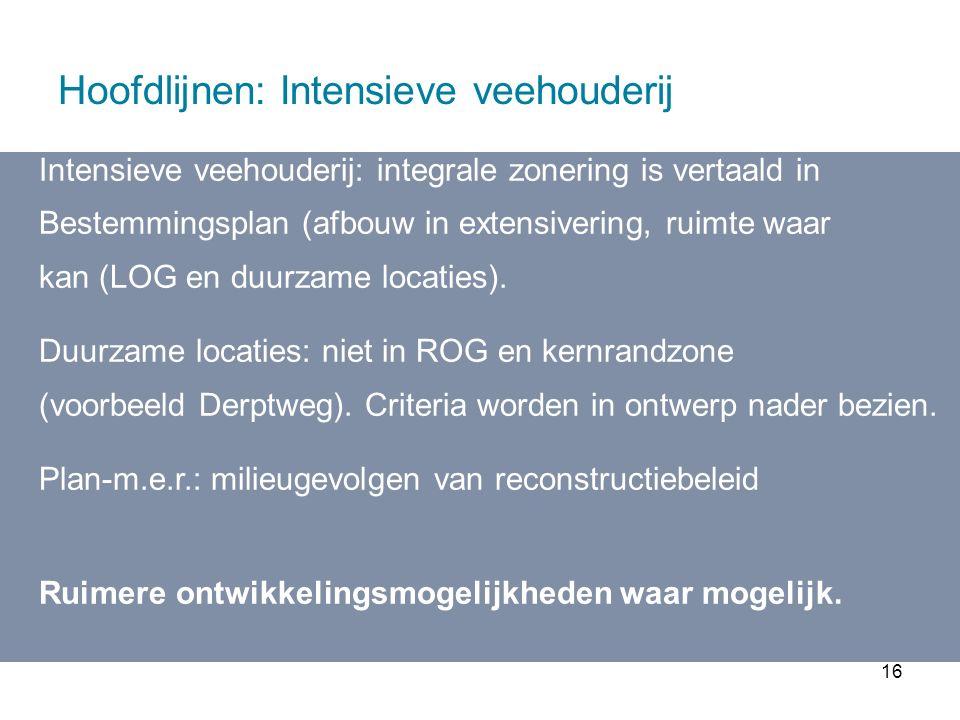 16 Hoofdlijnen: Intensieve veehouderij Intensieve veehouderij: integrale zonering is vertaald in Bestemmingsplan (afbouw in extensivering, ruimte waar kan (LOG en duurzame locaties).