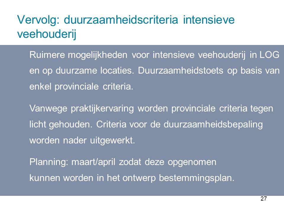 27 Vervolg: duurzaamheidscriteria intensieve veehouderij Ruimere mogelijkheden voor intensieve veehouderij in LOG en op duurzame locaties.