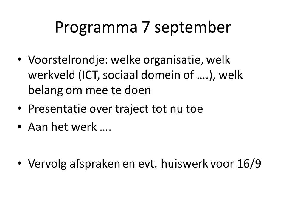 Programma 7 september Voorstelrondje: welke organisatie, welk werkveld (ICT, sociaal domein of ….), welk belang om mee te doen Presentatie over traject tot nu toe Aan het werk ….