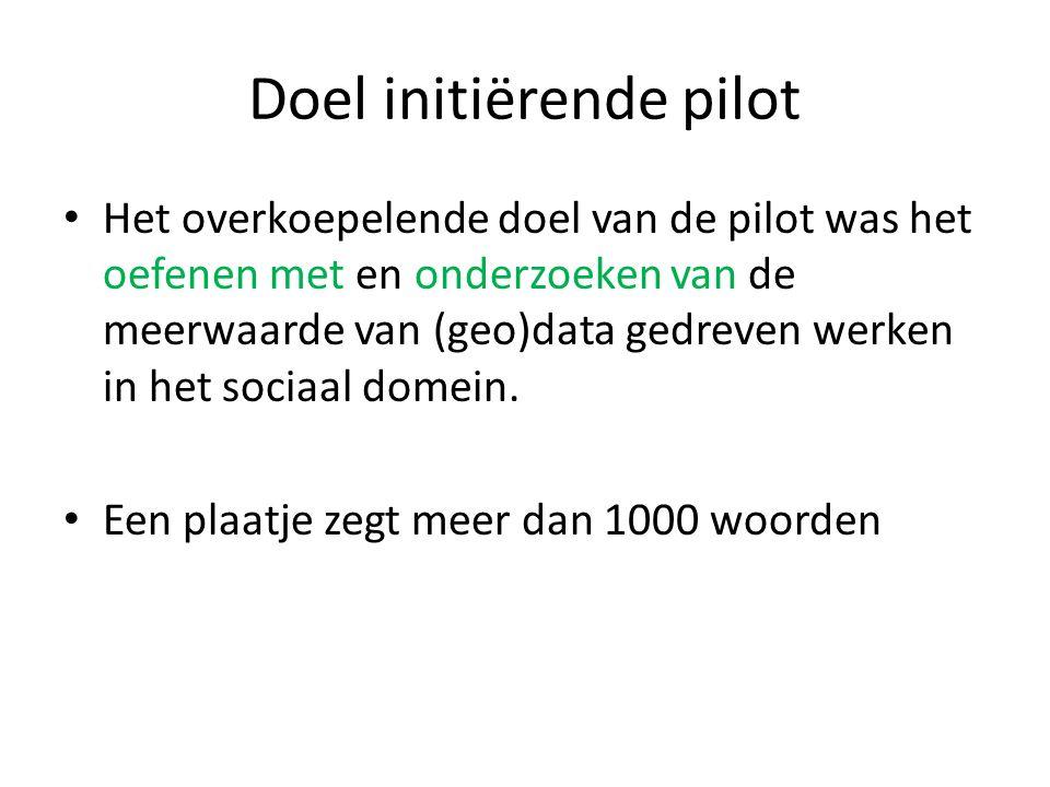 Doel initiërende pilot Het overkoepelende doel van de pilot was het oefenen met en onderzoeken van de meerwaarde van (geo)data gedreven werken in het sociaal domein.