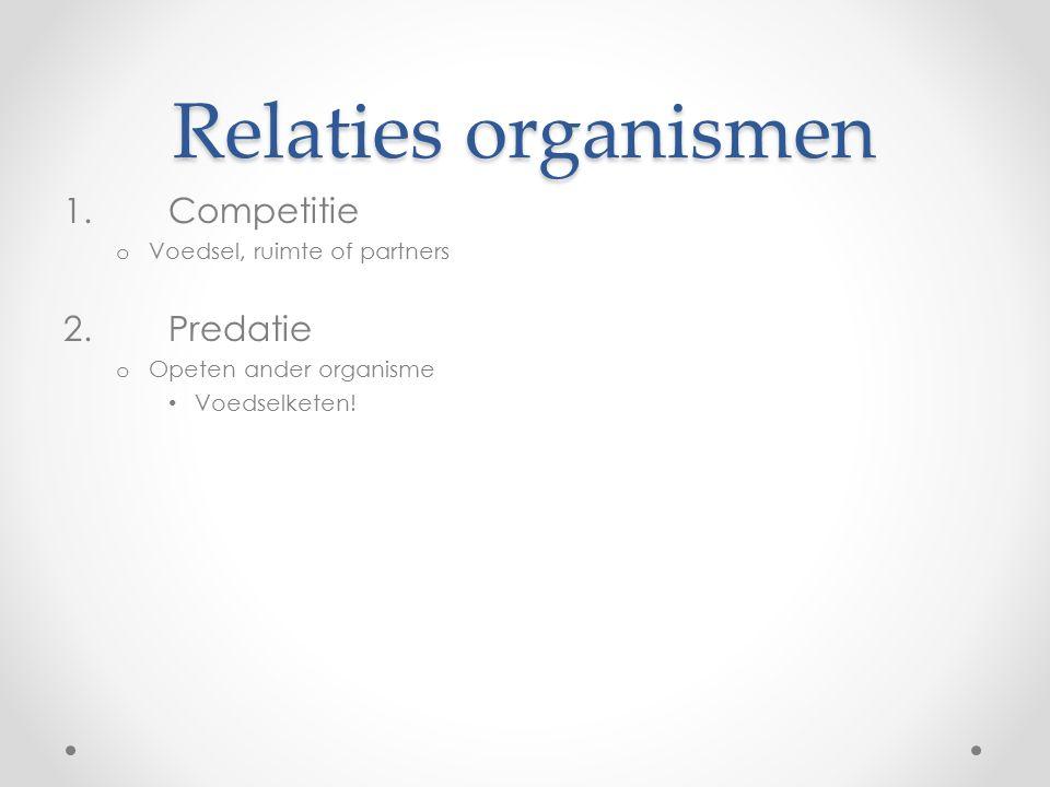 Relaties organismen 1.Competitie o Voedsel, ruimte of partners 2.Predatie o Opeten ander organisme Voedselketen!