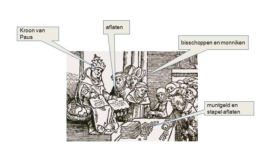 Kroon van Paus aflaten muntgeld en stapel aflaten bisschoppen en monniken