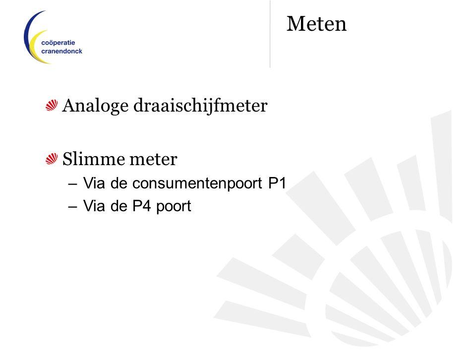Analoge draaischijfmeter Slimme meter –Via de consumentenpoort P1 –Via de P4 poort Meten