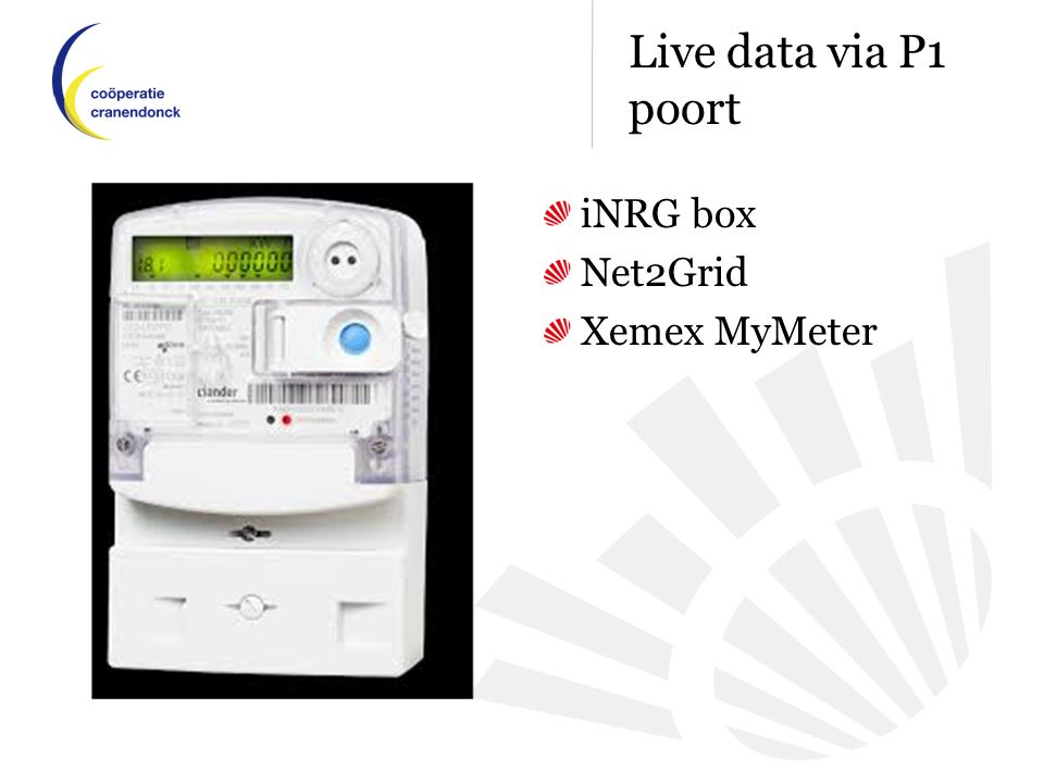 Live data via P1 poort iNRG box Net2Grid Xemex MyMeter