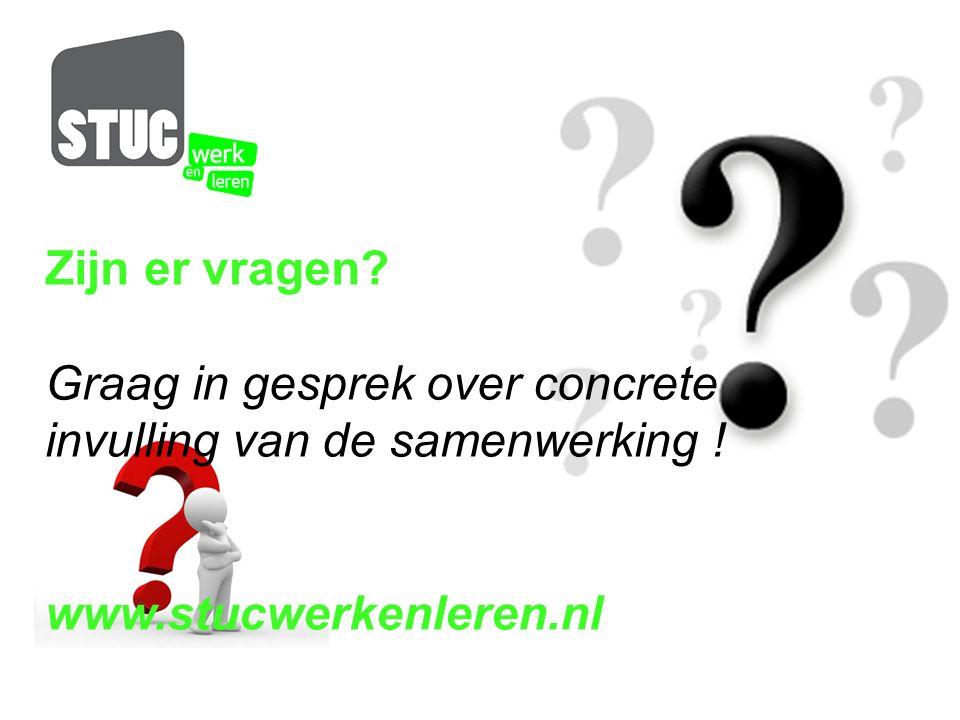 Zijn er vragen? Graag in gesprek over concrete invulling van de samenwerking ! www.stucwerkenleren.nl