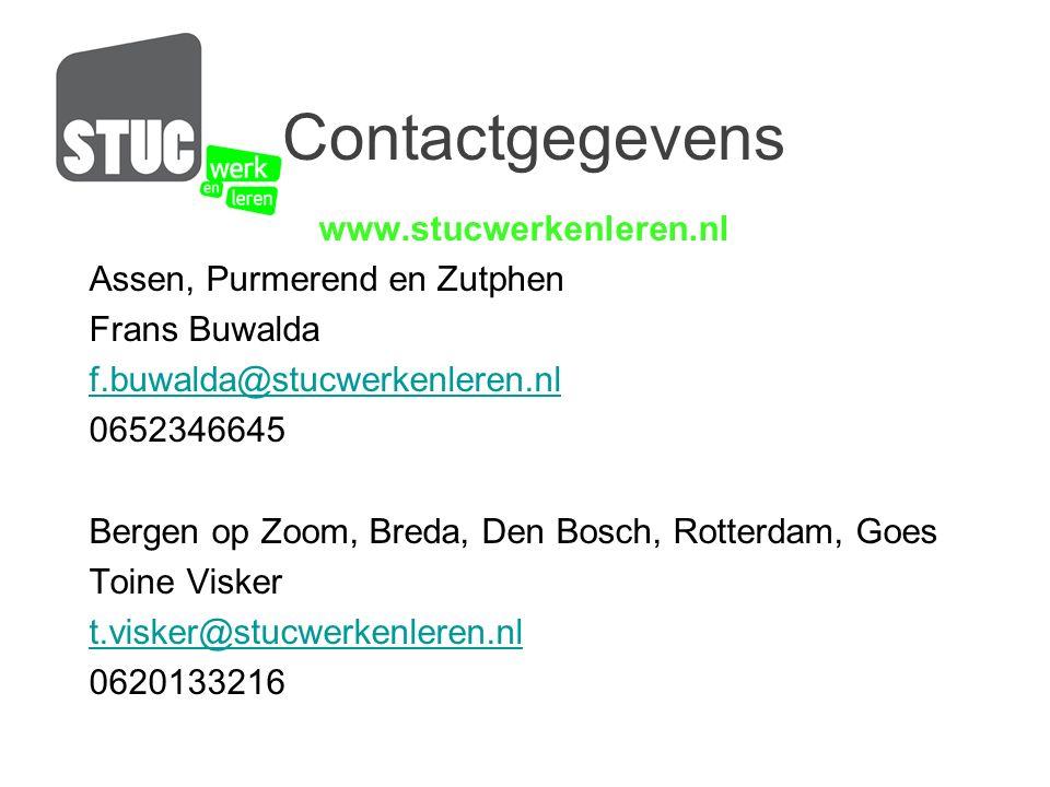 Contactgegevens www.stucwerkenleren.nl Assen, Purmerend en Zutphen Frans Buwalda f.buwalda@stucwerkenleren.nl 0652346645 Bergen op Zoom, Breda, Den Bosch, Rotterdam, Goes Toine Visker t.visker@stucwerkenleren.nl 0620133216
