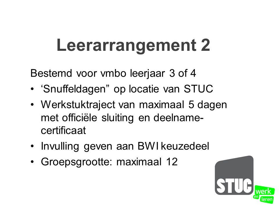 Bestemd voor vmbo leerjaar 3 of 4 'Snuffeldagen op locatie van STUC Werkstuktraject van maximaal 5 dagen met officiële sluiting en deelname- certificaat Invulling geven aan BWI keuzedeel Groepsgrootte: maximaal 12 Leerarrangement 2