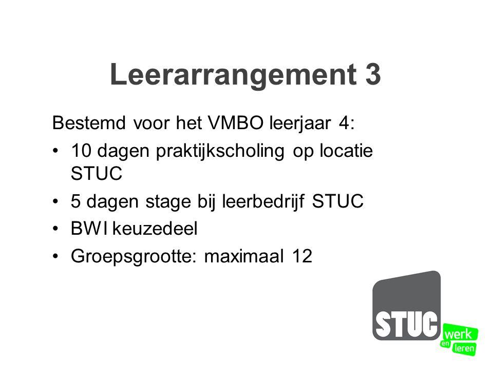 Bestemd voor het VMBO leerjaar 4: 10 dagen praktijkscholing op locatie STUC 5 dagen stage bij leerbedrijf STUC BWI keuzedeel Groepsgrootte: maximaal 12 Leerarrangement 3