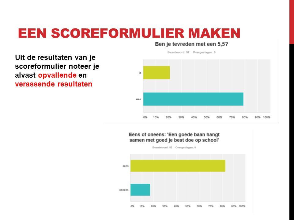 Uit de resultaten van je scoreformulier noteer je alvast opvallende en verassende resultaten EEN SCOREFORMULIER MAKEN