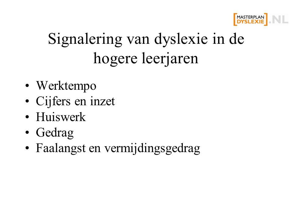 Signalering van dyslexie in de hogere leerjaren Werktempo Cijfers en inzet Huiswerk Gedrag Faalangst en vermijdingsgedrag