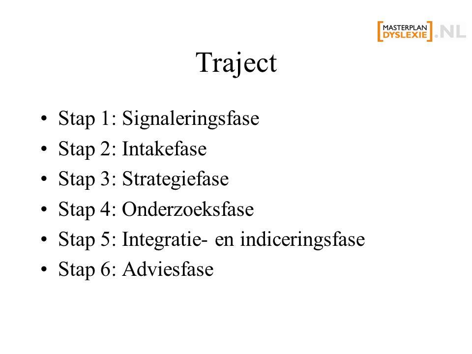 Traject Stap 1: Signaleringsfase Stap 2: Intakefase Stap 3: Strategiefase Stap 4: Onderzoeksfase Stap 5: Integratie- en indiceringsfase Stap 6: Advies