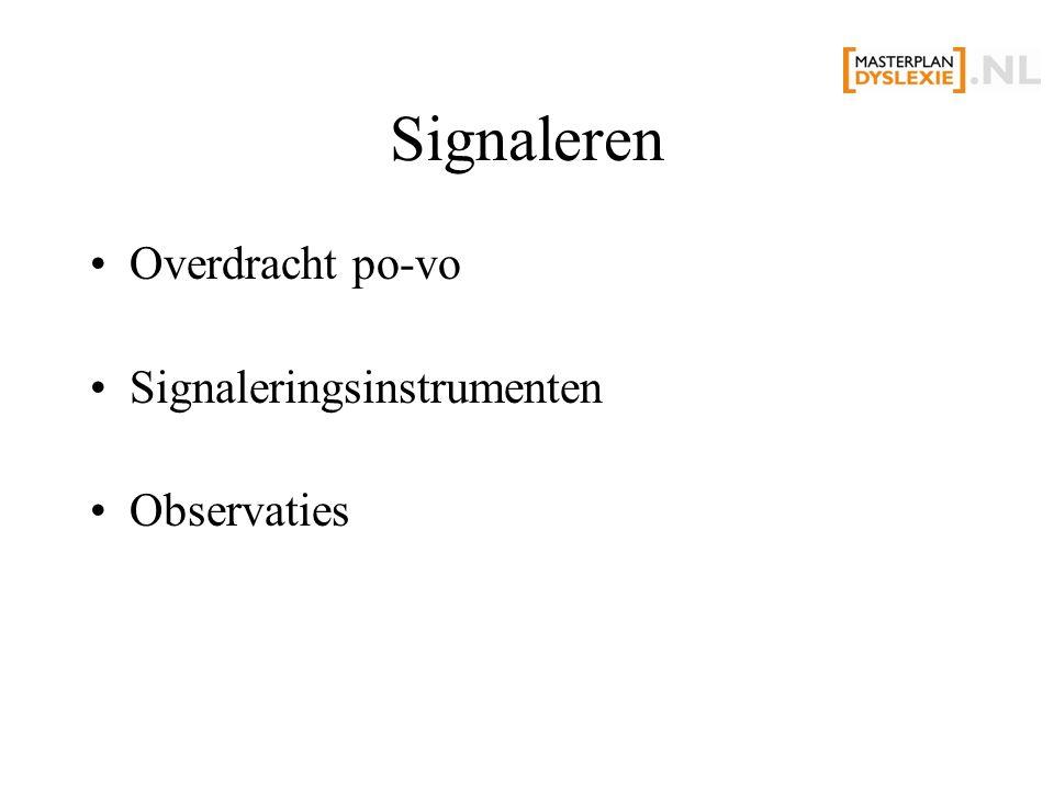 Signaleren Overdracht po-vo Signaleringsinstrumenten Observaties
