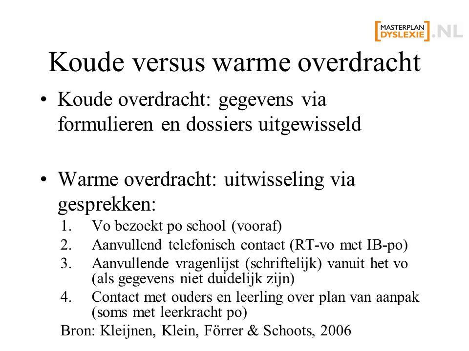 Koude versus warme overdracht Koude overdracht: gegevens via formulieren en dossiers uitgewisseld Warme overdracht: uitwisseling via gesprekken: 1.Vo