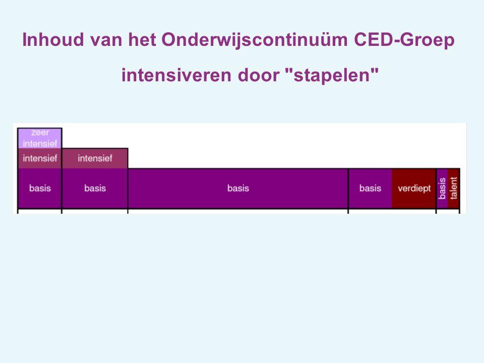 Inhoud van het Onderwijscontinuüm CED-Groep intensiveren door stapelen intensiveren en reduceren