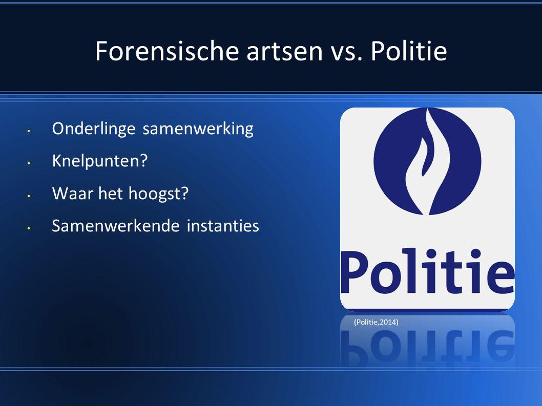 Forensische artsen vs. Politie Onderlinge samenwerking Knelpunten.