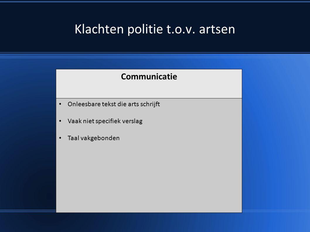 Communicatie Onleesbare tekst die arts schrijft Vaak niet specifiek verslag Taal vakgebonden Klachten politie t.o.v.