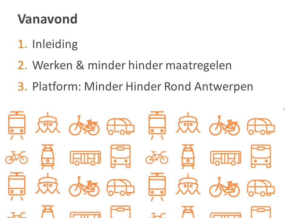 Vanavond 3 1.Inleiding 2.Werken & minder hinder maatregelen 3.Platform: Minder Hinder Rond Antwerpen