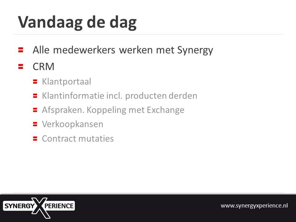 Vandaag de dag Alle medewerkers werken met Synergy CRM Klantportaal Klantinformatie incl.