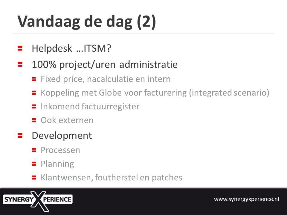 www.synergyxperience.nl Vandaag de dag (2) Helpdesk …ITSM.