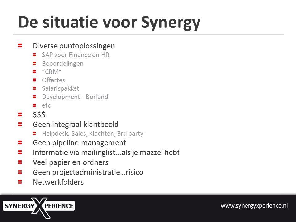 www.synergyxperience.nl Waarom Synergy.2011 Best-of-suite CRM en HRM als startpunt.