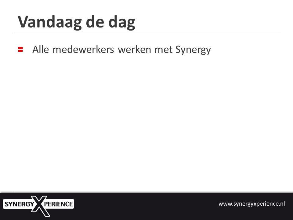 www.synergyxperience.nl Vandaag de dag Alle medewerkers werken met Synergy