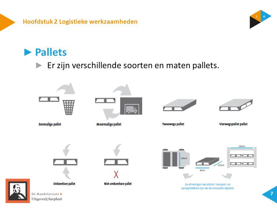 Hoofdstuk 2 Logistieke werkzaamheden 7 ► Pallets ► Er zijn verschillende soorten en maten pallets.