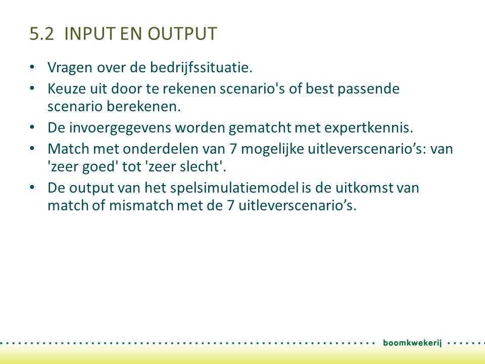5.2 INPUT EN OUTPUT Vragen over de bedrijfssituatie. Keuze uit door te rekenen scenario's of best passende scenario berekenen. De invoergegevens worde