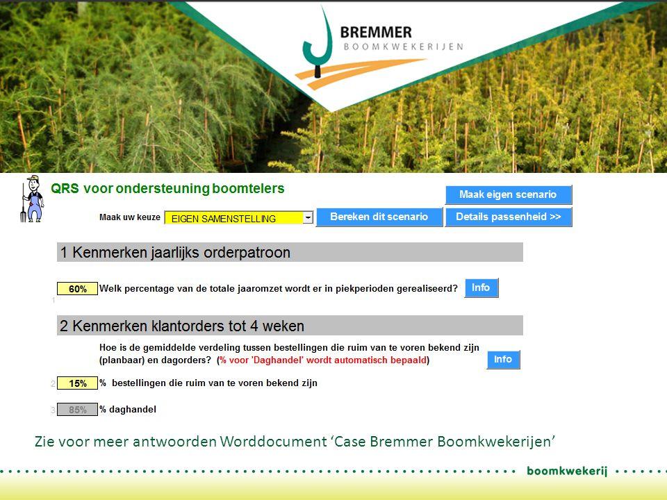 Zie voor meer antwoorden Worddocument 'Case Bremmer Boomkwekerijen'