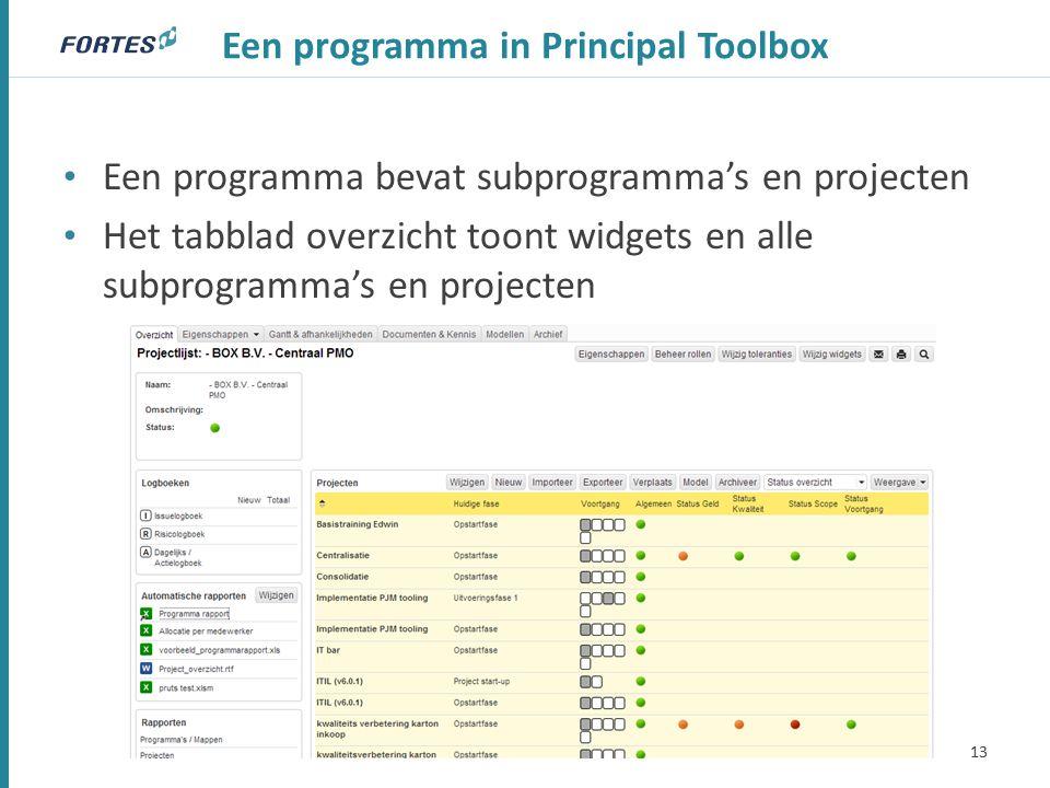 Een programma in Principal Toolbox Een programma bevat subprogramma's en projecten Het tabblad overzicht toont widgets en alle subprogramma's en projecten 13
