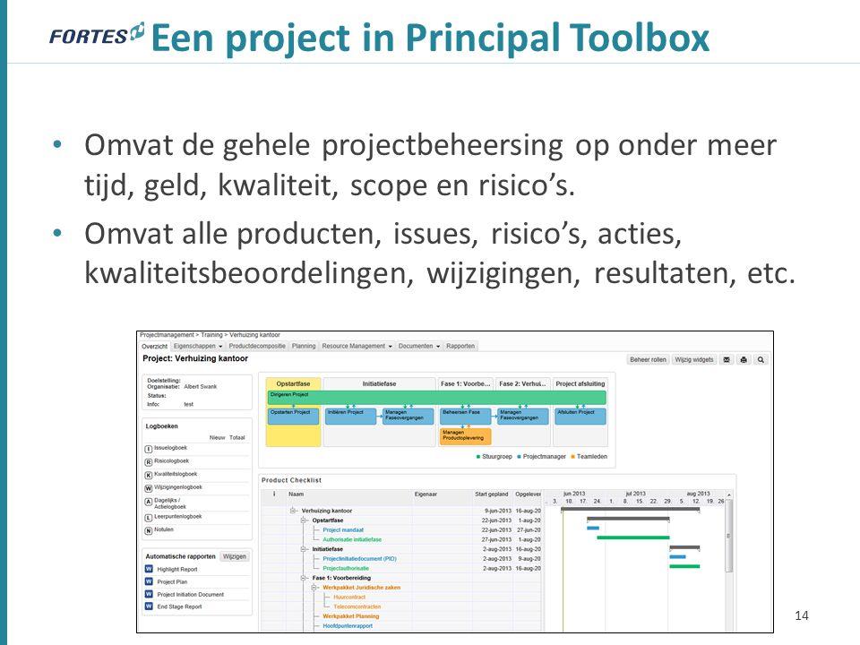 Een project in Principal Toolbox Omvat de gehele projectbeheersing op onder meer tijd, geld, kwaliteit, scope en risico's.