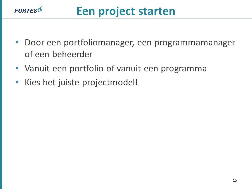 Een project starten Door een portfoliomanager, een programmamanager of een beheerder Vanuit een portfolio of vanuit een programma Kies het juiste projectmodel.