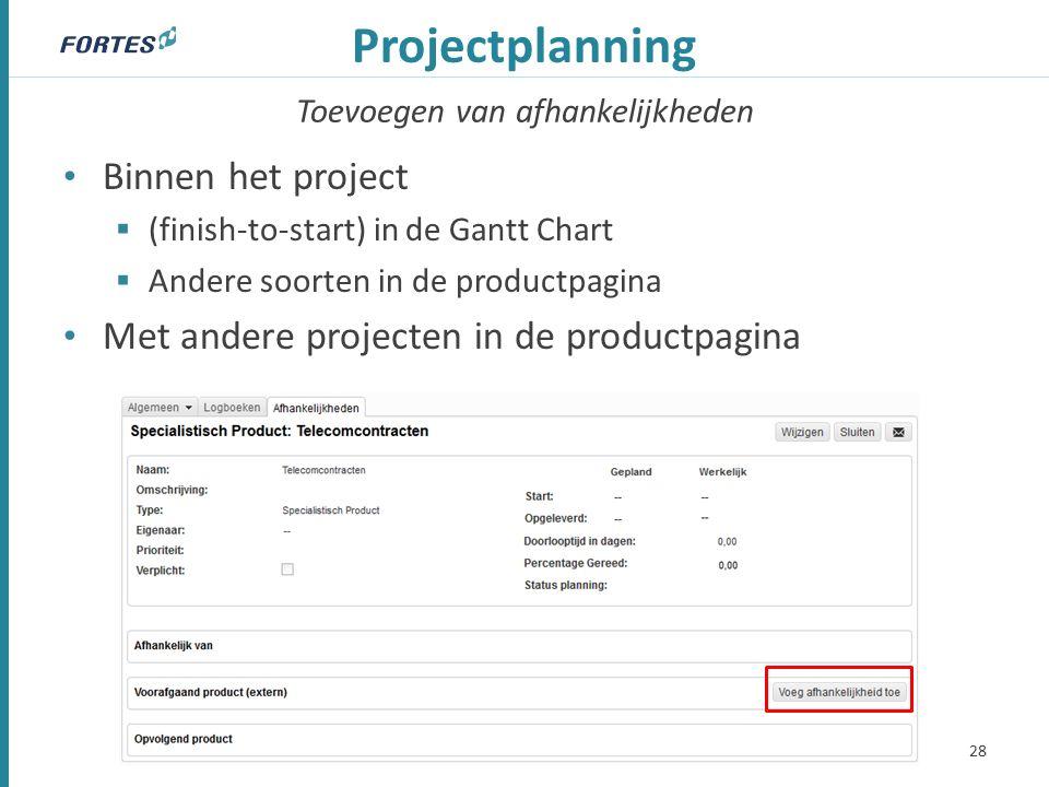 Toevoegen van afhankelijkheden Projectplanning Binnen het project  (finish-to-start) in de Gantt Chart  Andere soorten in de productpagina Met andere projecten in de productpagina 28