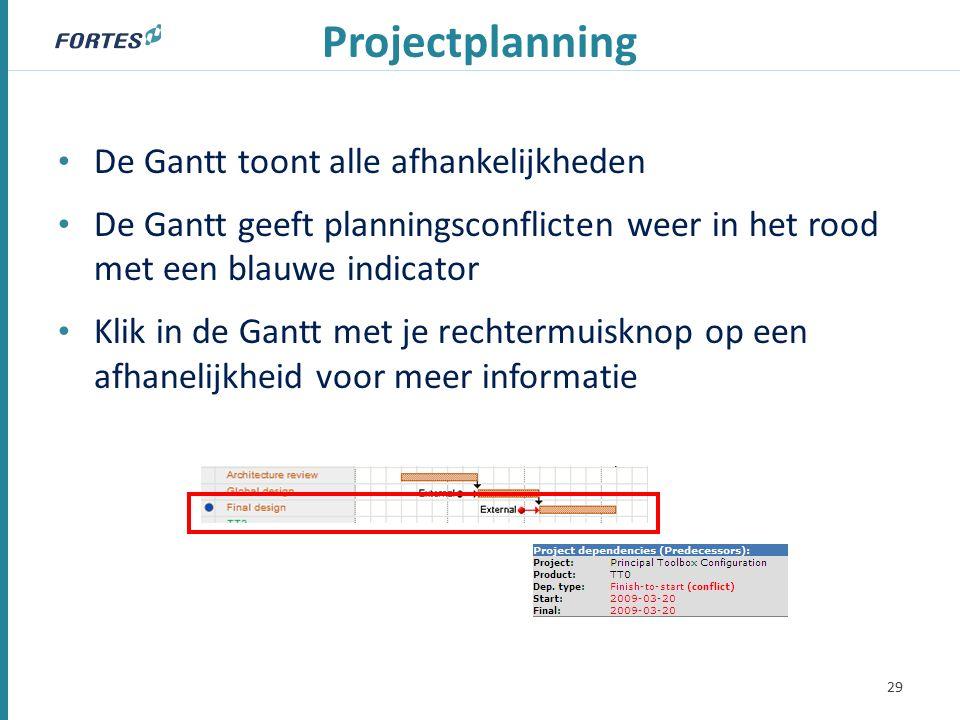 Projectplanning De Gantt toont alle afhankelijkheden De Gantt geeft planningsconflicten weer in het rood met een blauwe indicator Klik in de Gantt met je rechtermuisknop op een afhanelijkheid voor meer informatie 29