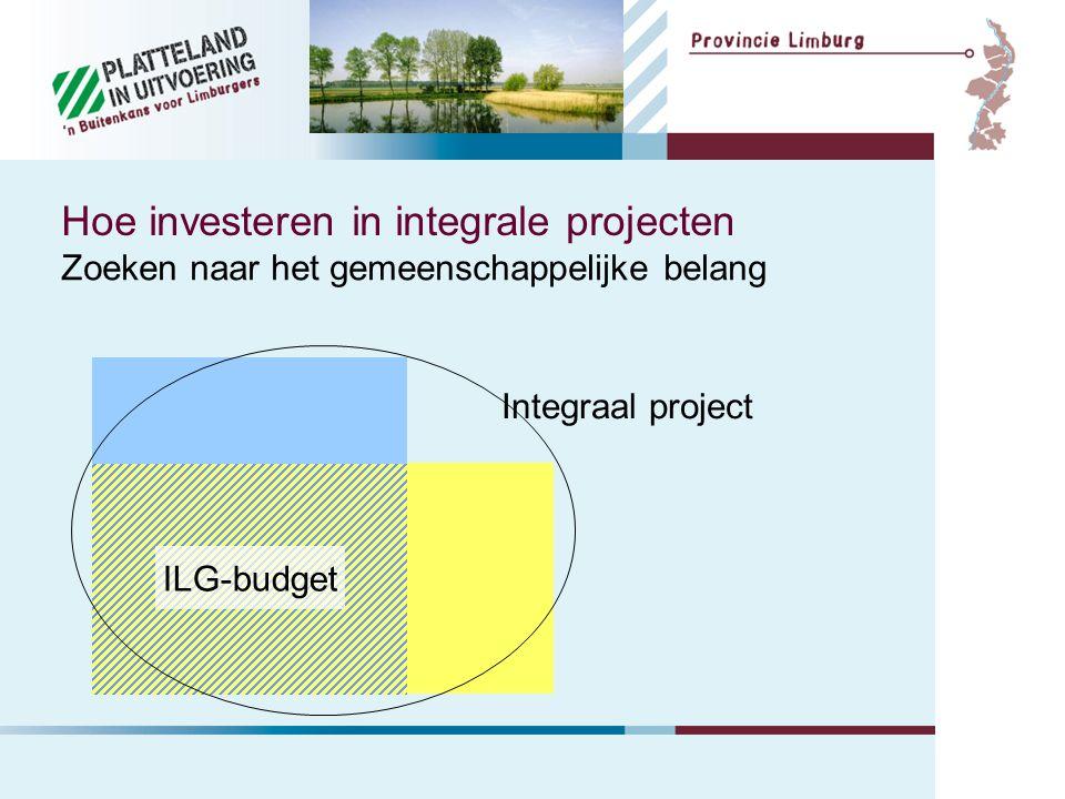 Hoe investeren in integrale projecten Zoeken naar het gemeenschappelijke belang ILG-budget Integraal project