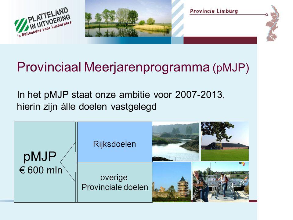 Provinciaal Meerjarenprogramma (pMJP) pMJP € 600 mln Rijksdoelen overige Provinciale doelen In het pMJP staat onze ambitie voor 2007-2013, hierin zijn álle doelen vastgelegd