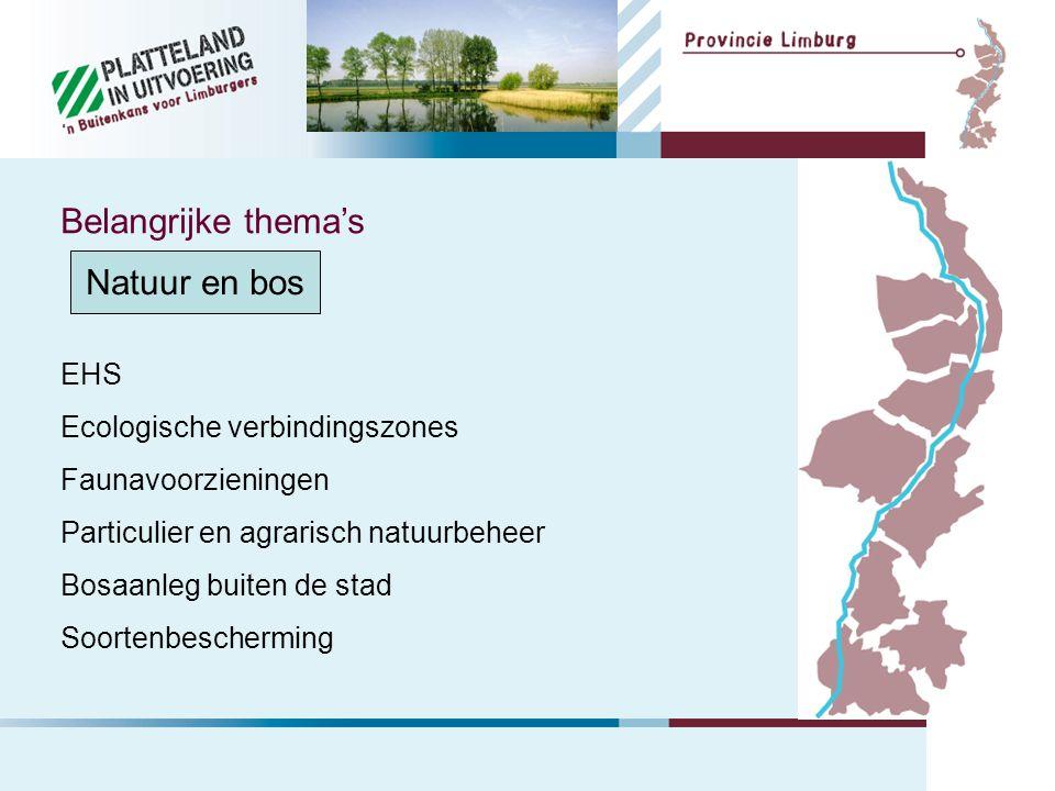 Natuur en bos EHS Ecologische verbindingszones Faunavoorzieningen Particulier en agrarisch natuurbeheer Bosaanleg buiten de stad Soortenbescherming Belangrijke thema's
