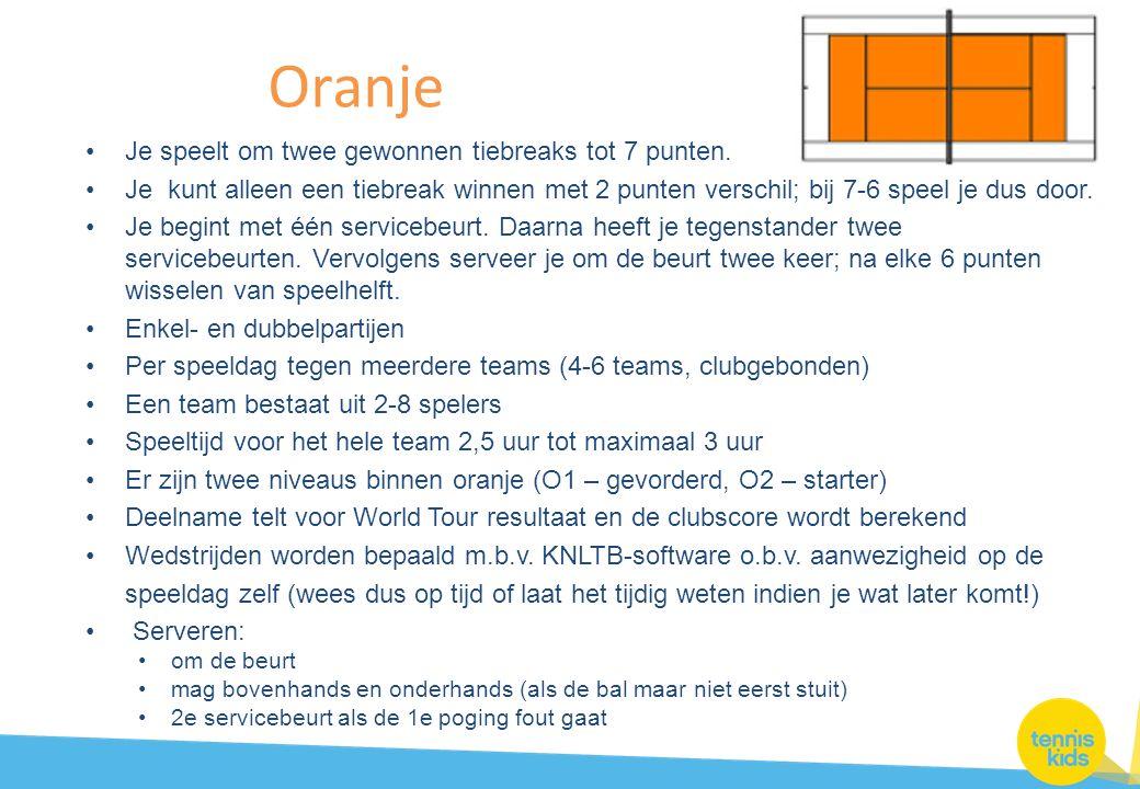 Oranje Je speelt om twee gewonnen tiebreaks tot 7 punten.
