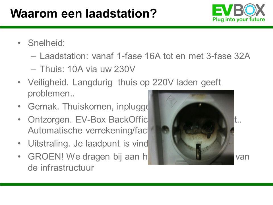 Snelheid: –Laadstation: vanaf 1-fase 16A tot en met 3-fase 32A –Thuis: 10A via uw 230V Veiligheid.
