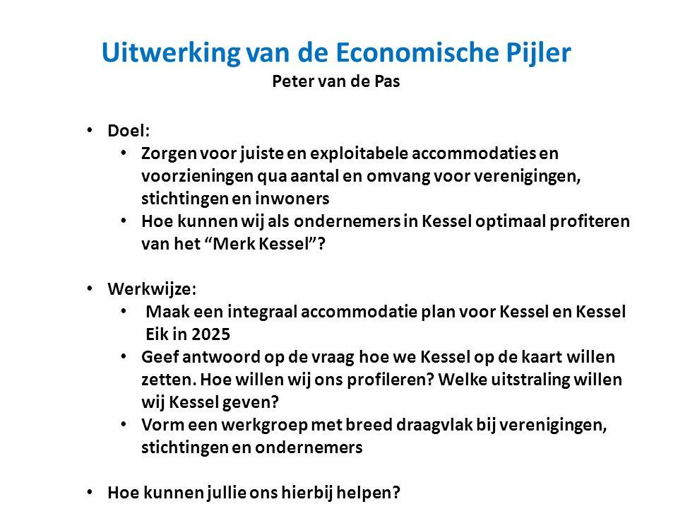 Uitwerking van de Economische Pijler Peter van de Pas Doel: Zorgen voor juiste en exploitabele accommodaties en voorzieningen qua aantal en omvang voor verenigingen, stichtingen en inwoners Hoe kunnen wij als ondernemers in Kessel optimaal profiteren van het Merk Kessel .