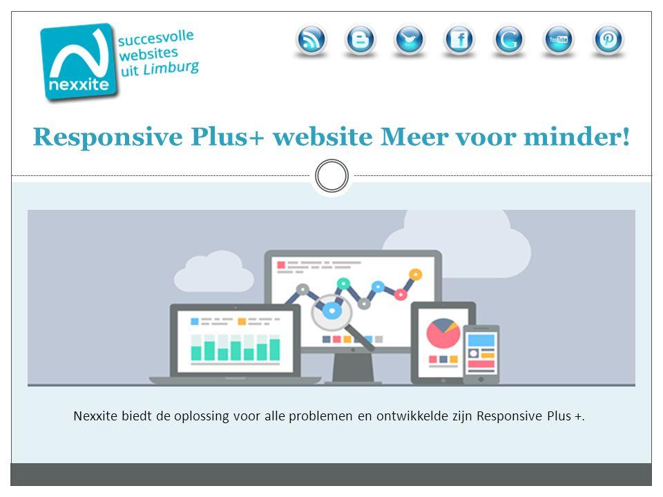 Nexxite biedt de oplossing voor alle problemen en ontwikkelde zijn Responsive Plus +. Responsive Plus+ website Meer voor minder!