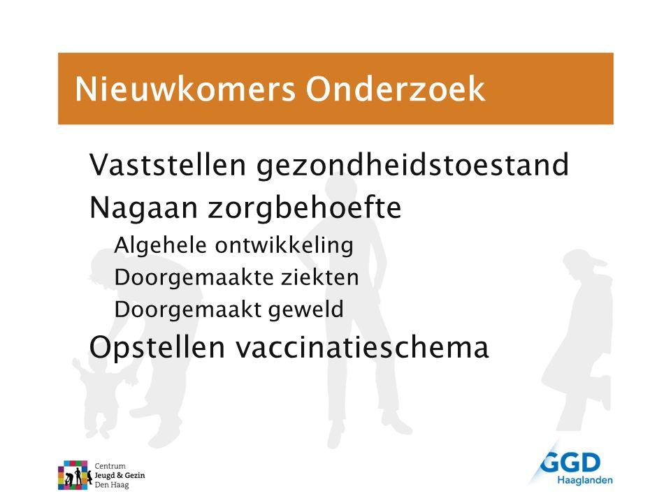 Nieuwkomers Onderzoek Vaststellen gezondheidstoestand Nagaan zorgbehoefte Algehele ontwikkeling Doorgemaakte ziekten Doorgemaakt geweld Opstellen vacc