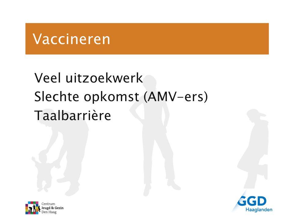 Vaccineren Veel uitzoekwerk Slechte opkomst (AMV-ers) Taalbarrière