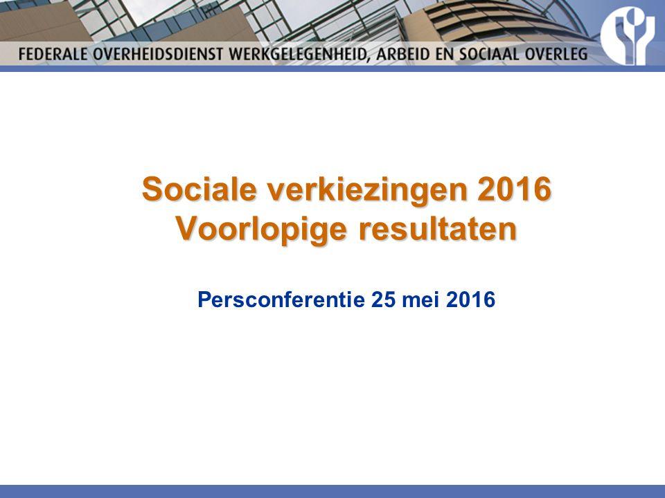 Sociale verkiezingen 2016 Voorlopige resultaten Persconferentie 25 mei 2016